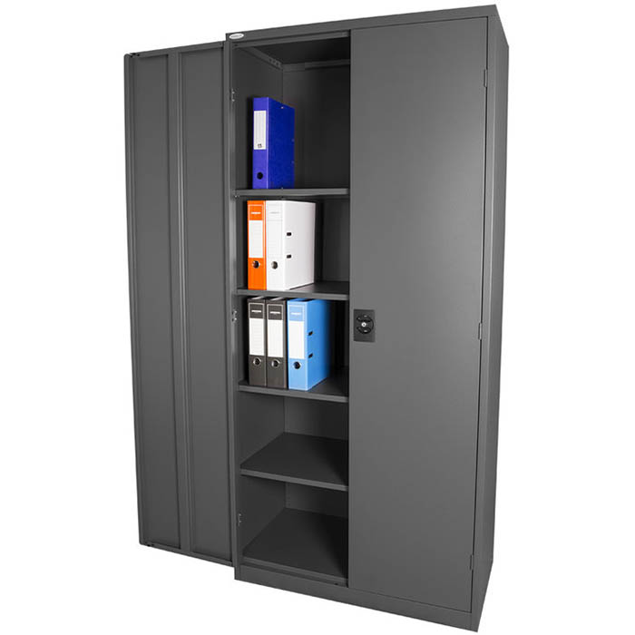 Image for STEELCO STATIONERY CUPBOARD 3 SHELVES 1830 X 914 X 436MM GRAPHITE RIPPLE from Pirie Office National