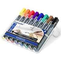 STAEDTLER 350 LUMOCOLOR PERMANENT MARKER CHISEL POINT ASSORTED WALLET 8