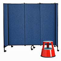 SYLEX GREAT DIVIDER MODULAR SCREENS STARTER KIT 2438MM HIGH BLUE PLUS BONUS STEP STOOL