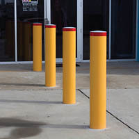 BRADY BOLLARD FIXED HEAVY DUTY ROUND IN GROUND 1200 X 140MM YELLOW