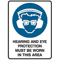 TRAFALGAR MANDATORY SIGN HEARING AND EYE PROTECTION 450 X 600MM