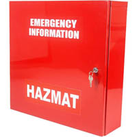 BRADY CABINET EMERGENCY INFORMATION HAZMAT LARGE RED
