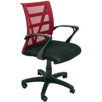 RAPIDLINE VIENNA MESH CHAIR MEDIUM BACK RED