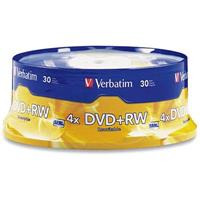 VERBATIM DVD+RW 4.7GB 4X REWRITABLE SPINDLE PACK 30