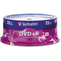VERBATIM DVD+R 4.7GB 16X SPINDLE PACK 25