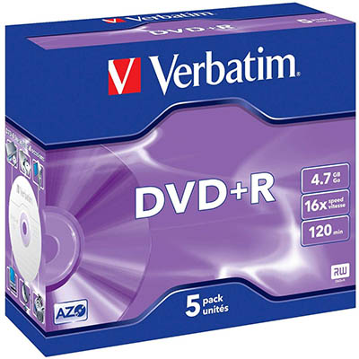 Image for VERBATIM DVD+R 4.7GB 16X JEWEL CASE PACK 5 from Our Town & Country Office National