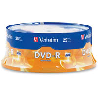 VERBATIM DVD-R 16X 4.7GB SPINDLE PACK 25