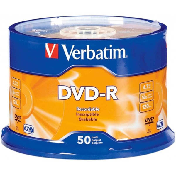 Image for VERBATIM DVD-R 4.7GB 16X SPINDLE PACK 50 from Wetherill Park / Smithfield Office National
