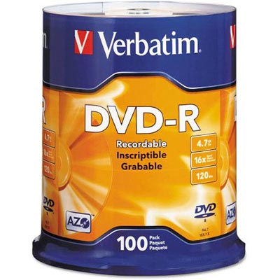 Image for VERBATIM DVD-R 4.7GB 16X SPINDLE PACK 100 from Office National Caloundra Business Supplies