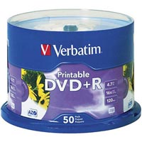 VERBATIM DVD+R 4.7GB 16X WHITE PRINTABLE PACK 50