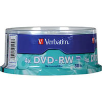 VERBATIM DVD-RW 4.7GB 2X SPINDLE PACK 30