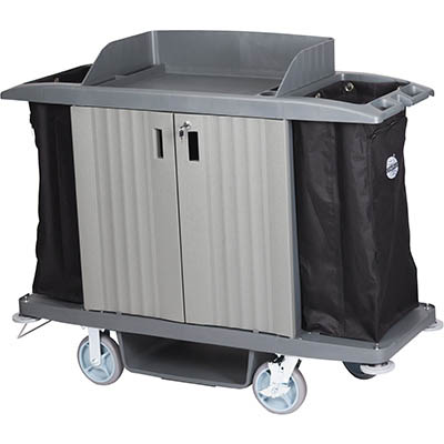 Image for COMPASS HARD FRONT HOUSEKEEPING TROLLEY WITH DOORS GREY from Express Office National