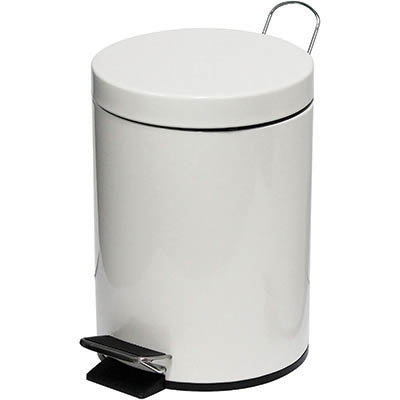 Image for COMPASS ROUND PEDAL BIN 5 LITRE WHITE from Office National Limestone Coast