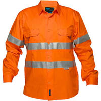 PRIME MOVER MA301 HI-VIS LIGHTWEIGHT COTTON DRILL SHIRT LONG SLEEVE WITH TAPE