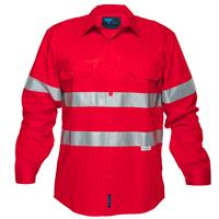 PRIME MOVER MA301 HI-VIS LIGHTWEIGHT COTTON DRILL SHIRT LONG SLEEVE WITH TAPE RED