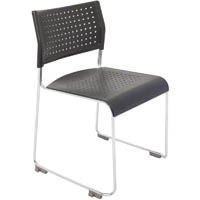 RAPIDLINE WIMBLEDON VISITORS CHAIR STACKING LINKING CHROME FRAME BLACK
