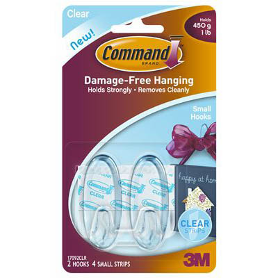 COMMAND ADHESIVE SMALL HOOKS CLEAR PACK 2 HOOKS AND 4 STRIPS