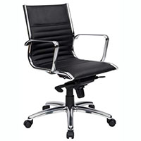 COGRA OFFICE CHAIR MEDIUM BACK LEATHER BLACK