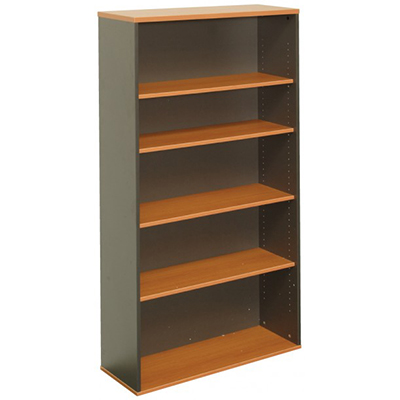 OXLEY 5 SHELF BOOKCASE 900 X 315 X 1800MM BEECH/IRONSTONE