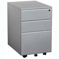 SUMMIT MOBILE PEDESTAL 2 DRAWERS 1 FILE DRAWER 400 X 520 X 620MM SILVER