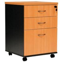 OXLEY MOBILE PEDESTAL 2 DRAWER 1 FILE BEECH/IRONSTONE