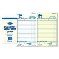 ZIONS RESTAURANT DOCKET BOOK CARBONLESS DUPLICATE 165 X 95MM 50 SETS