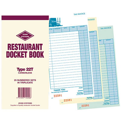 ZIONS RESTAURANT DOCKET BOOK CARBONLESS TRIPLICATE 200 X 100MM 25 SETS