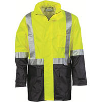 ZIONS HIVIS LIGHTWEIGHT RAIN JACKET WITH REFLECTIVE TAPE TWO TONE YELLOW/NAVY