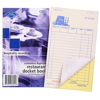 ZIONS RESTAURANT DOCKET BOOK CARBONLESS DUPLICATE 170 X 100MM 25 SETS