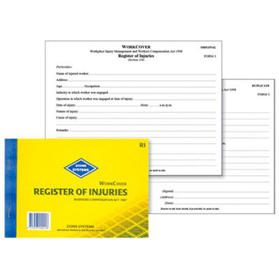 Image for ZIONS REGISTER OF INJURIES BOOK WORKCOVER NSW from PaperChase Office National